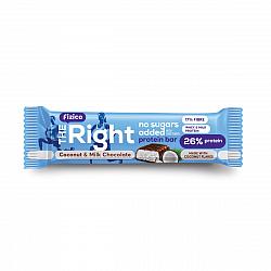 Baton proteic 26%, Fizico The Right Protein Bar, lapte si fulgi de cocos, fara zaharuri adaugate, 60 g