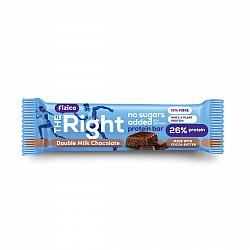 Baton proteic 26%, Fizico The Right Protein Bar, strat dublu de ciocolata cu lapte, fara zaharuri adaugate, 60 g