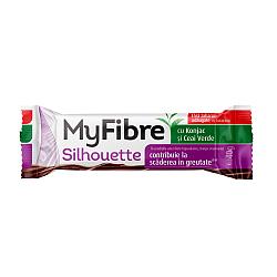 MyFibre Silhouette baton pentru scaderea in greutate*, cu Glucomannan (Konjac Mannan) si ceai verde, acoperit cu ciocolata cu lapte, fara zaharuri adaugate, cu indulcitori, 40g
